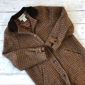 LL Bean Wool Vintage Long Coat Jacket plaid
